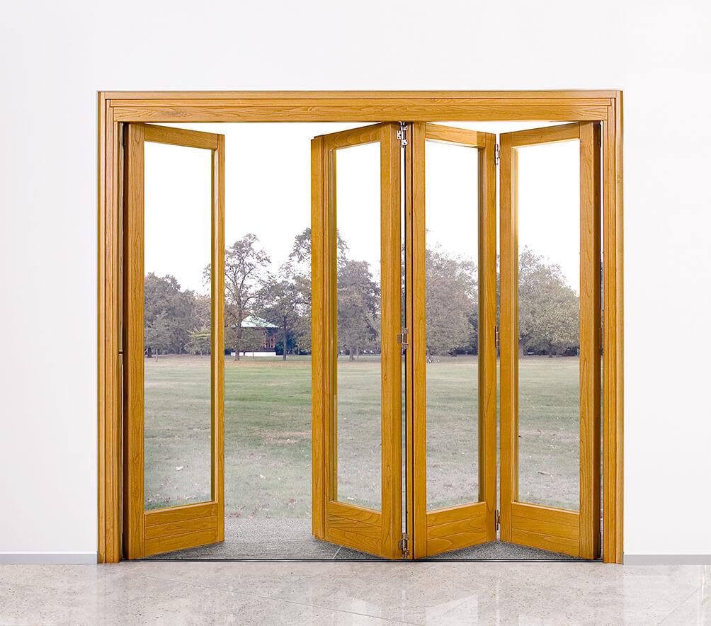Finestre saliscendi e porte a libro in legno e in legno-alluminio ...