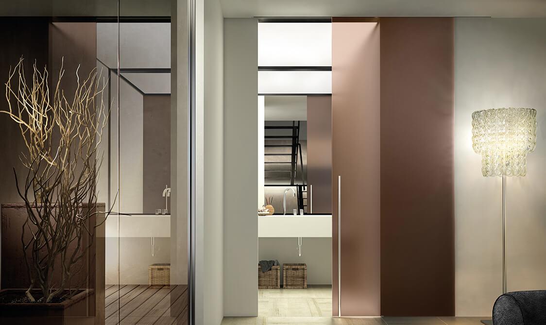 Porte interne porte scorrevoli porte a filo muro e porte - Porte scorrevoli vetro e legno ...